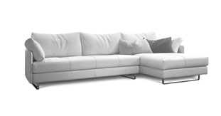 Modern leather sectional made in Italy. white background.