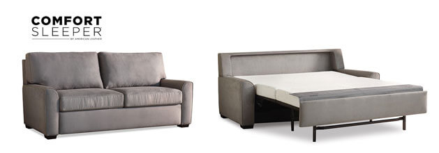Comfort Sleeper San Diego. 2 pictures showing one open and one closed sofa sleeper in gray color. White background.